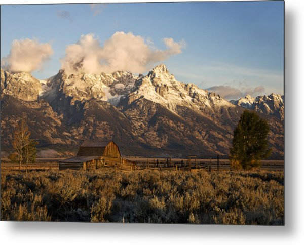 Barn And Corral On Mormon Row Metal Print