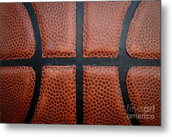 Basketball - Leather Close Up Metal Print by Ben Haslam