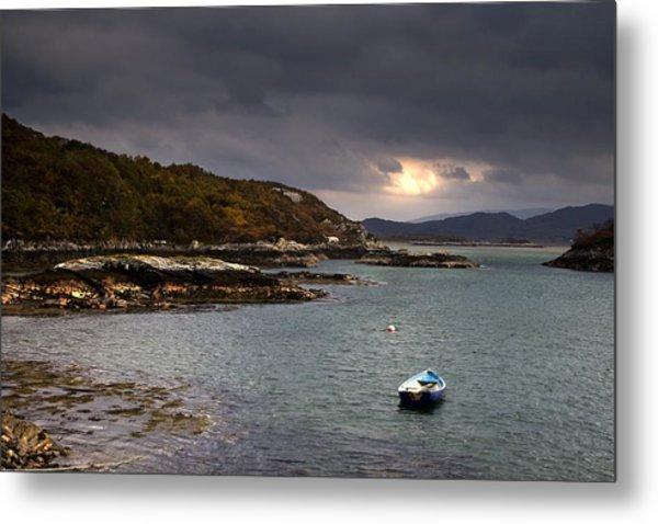 Boat In Water, Loch Sunart, Scotland Metal Print
