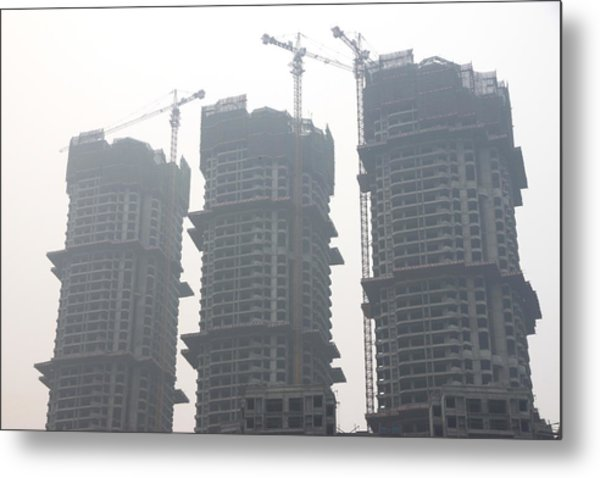 Buildings Under Construction In China Metal Print
