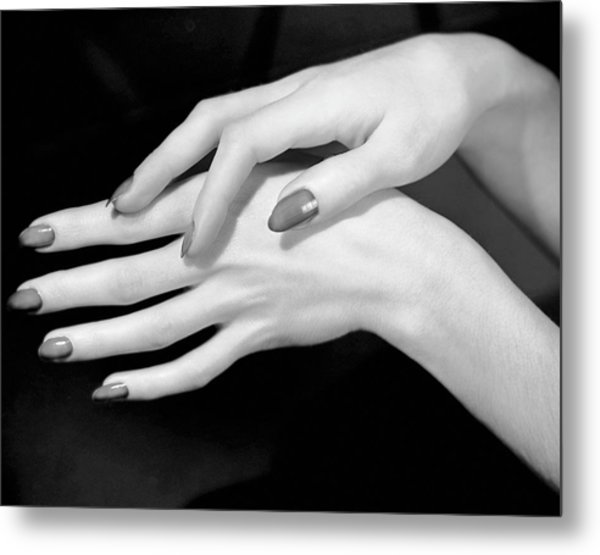 Close-up Of Woman's Hands Metal Print by George Marks