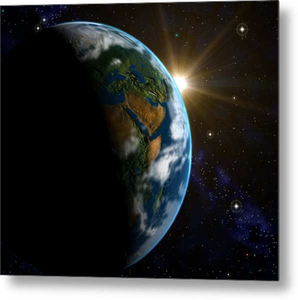 Computer Artwork Of Sunrise Over The Earth Metal Print by Roger Harris