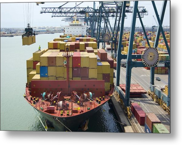 Container Ship And Port Metal Print by Dr Juerg Alean