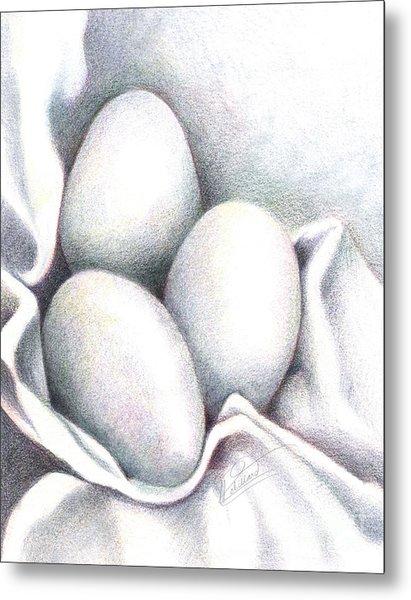 Eggs In Folds Metal Print by Lissa Rachelle