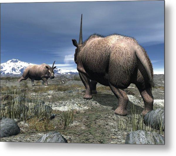 Elasmotherium, Artwork Metal Print by Walter Myers