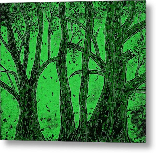 Falling Leaves Green Metal Print