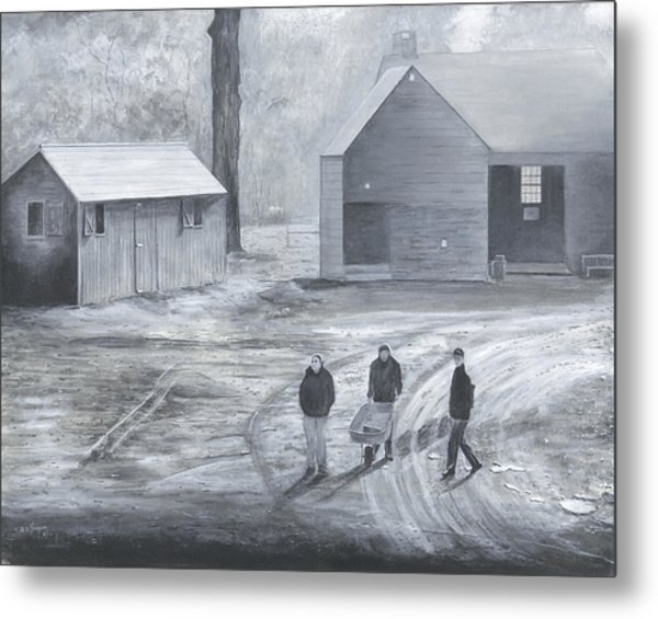 Farm In Black And White Metal Print