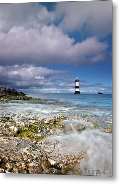 Fishing By The Lighthouse Metal Print