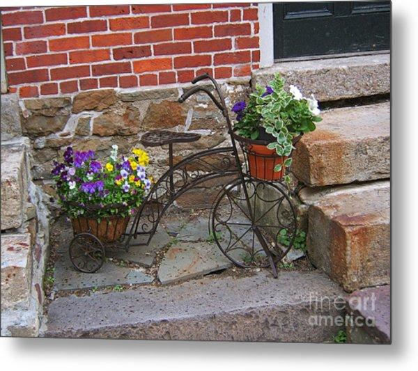 Flower Bicycle Basket Metal Print