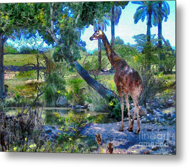 Metal Print featuring the painting George The Giraffe by Elinor Mavor