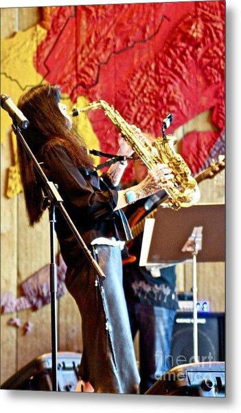 Harjo On Sax Metal Print by James Knights