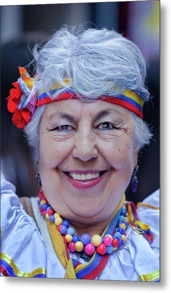 Hispanic Columbus Day Parade Nyc 11 9 11 Female Marcher Metal Print by Robert Ullmann