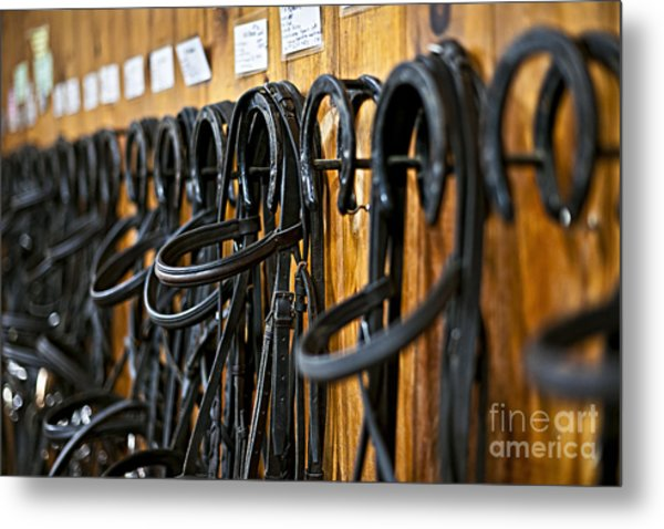 Horse Bridles Hanging In Stable Metal Print