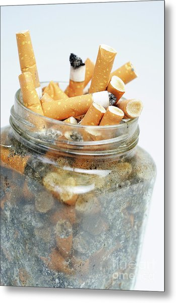 Jar Overflowing With Cigarette Butts Metal Print by Sami Sarkis