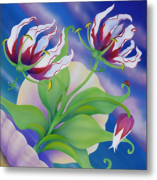 Ladybug And Lily Metal Print by Marcia  Perry