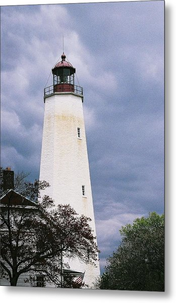 Lighthouse At Sandy Hook Metal Print by William Walker