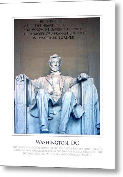 Lincoln Memorial Metal Print by Jim McDonald Photography