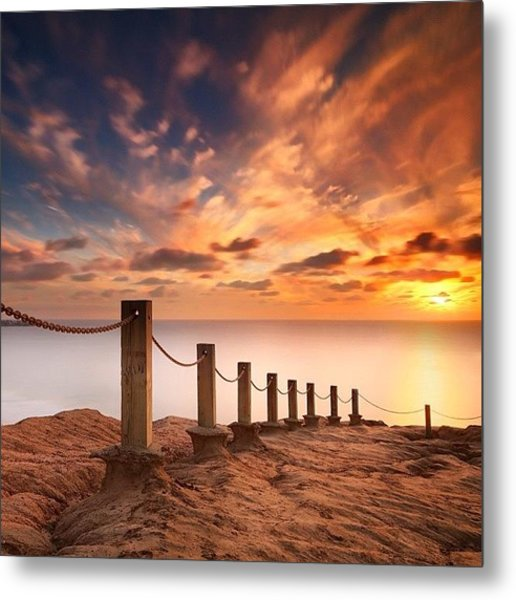 Long Exposure Sunset Taken From The Metal Print by Larry Marshall