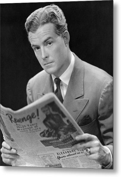 Man Reading Newspaper Metal Print by George Marks