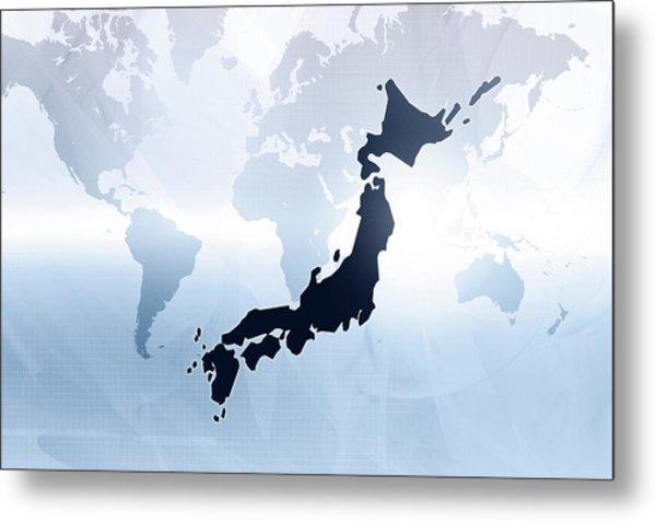 Map Of Japan Metal Print by Maciej Frolow