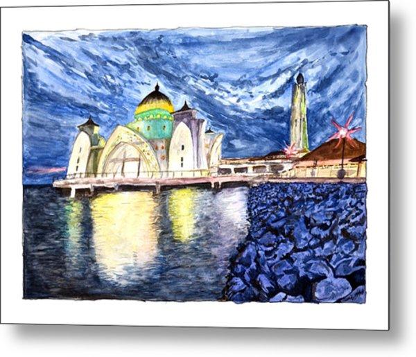 Masjid Selat Melaka Of Malaysia Metal Print