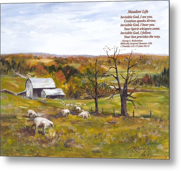 Meadow Life With Poem Metal Print