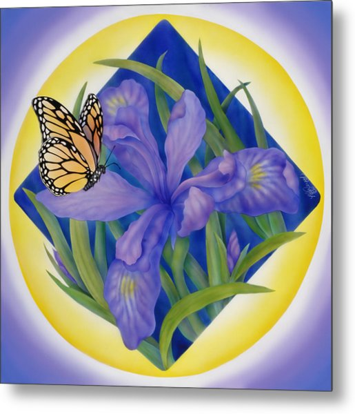 Monarch Butterfly And Iris Metal Print by Marcia  Perry
