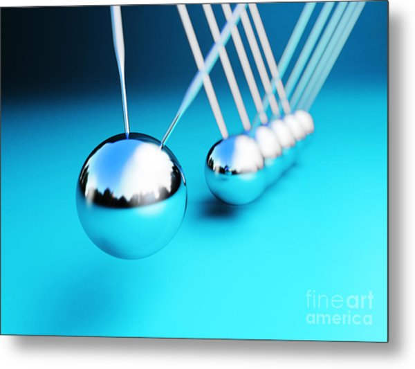 Newton Cradle 3d Metal Print