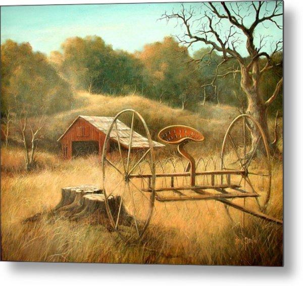 Old Barn And Hay Rake Metal Print