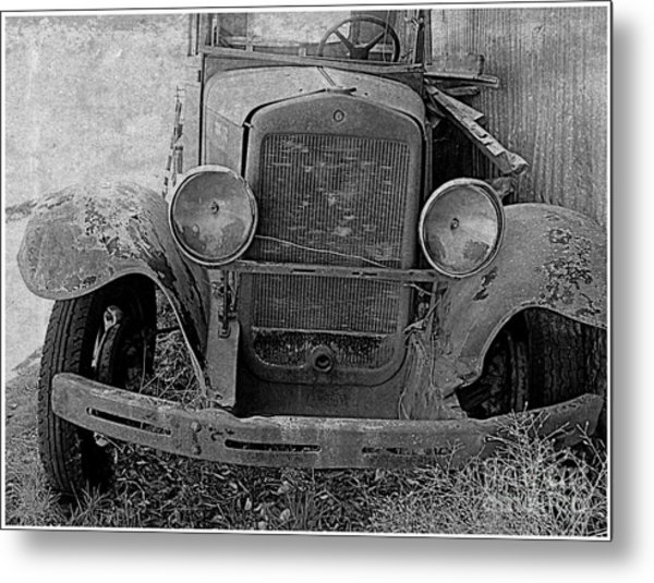 Out Of Service In Black And White Metal Print by Irina Hays