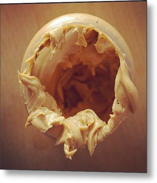 Peanut Butter - Empty Glass Metal Print