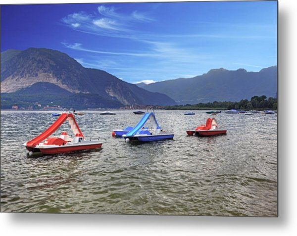 Pedal Boats On Lake Maggiore Metal Print