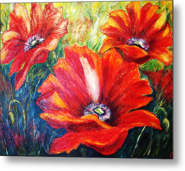 Poppy Flowers In Bloom Metal Print