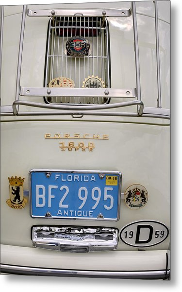 Porsche 1600 Super 1959 Rear View. Miami Metal Print