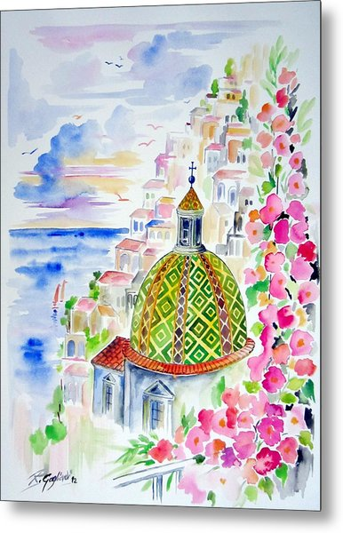 Positano In Acquarello Metal Print
