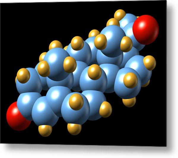 Progesterone Hormone, Molecular Model Metal Print by Dr Mark J. Winter