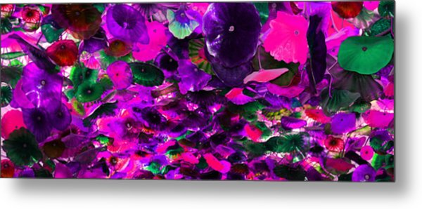 Purple Pink And Green Glass Flowers Metal Print