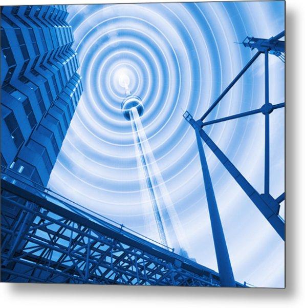 Radio Tower With Radio Waves Metal Print by Mehau Kulyk