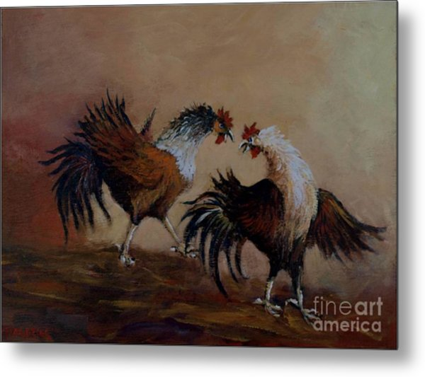Rooster Fight Metal Print