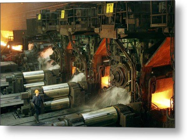 Sheet Mill Processing Molten Metal Metal Print by Ria Novosti