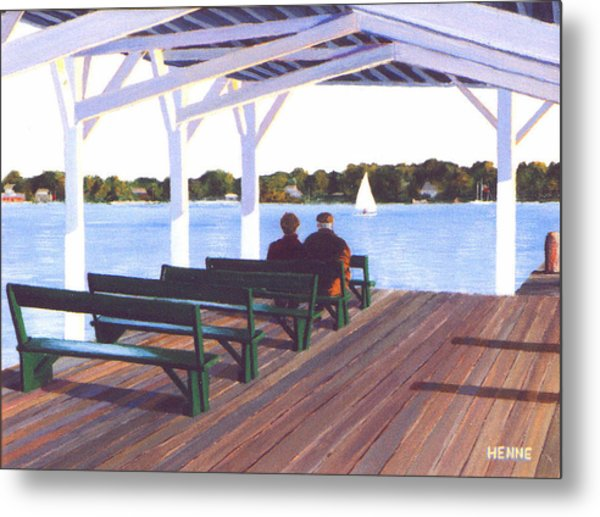 Metal Print featuring the painting Sitting By The River by Robert Henne