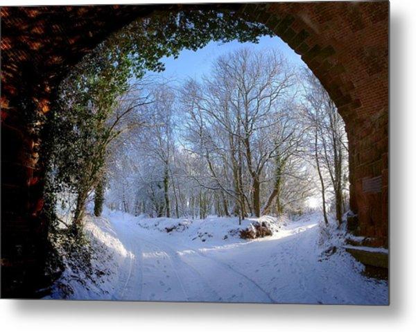 Snow Through The Bridge Metal Print