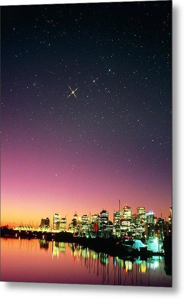 Starry Sky Over Vancouver Metal Print by David Nunuk