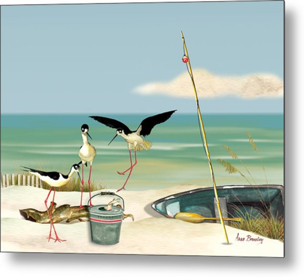 Stilts On Beach Metal Print