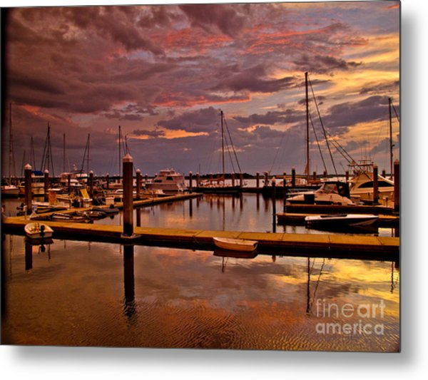 Sunset At The Marina Metal Print by Scott Moore