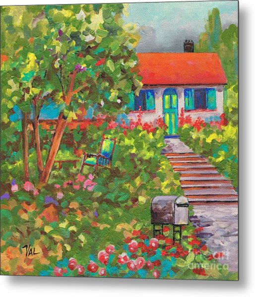 Up The Garden Path Metal Print by Val Stokes