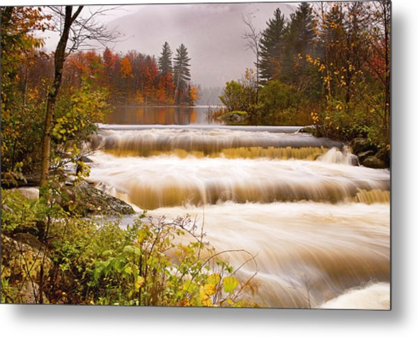 Water Fall At Lefferts Pond Metal Print