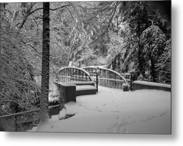 Watkins Glen Gorge Bridge In Winter 2 Metal Print