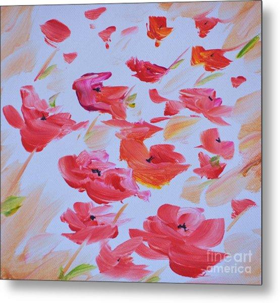 Windy Poppies No. 1 Metal Print