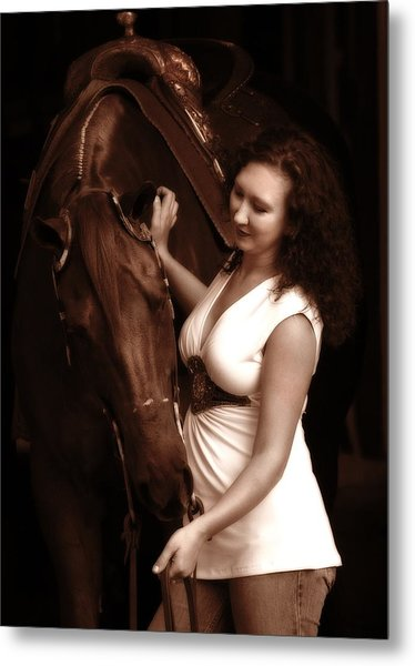 Woman And Horse Metal Print